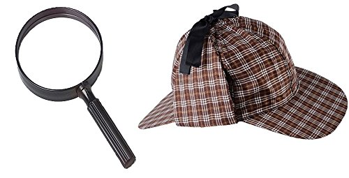 Toy Jumbo Magnifying Glass & Inspector Hat Bundle - With Glasses Hat