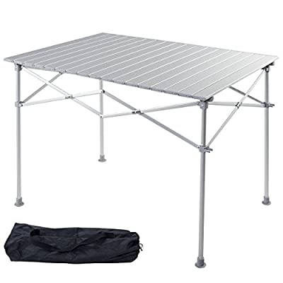 Giantex Portable Aluminum Folding Table Lightweight Outdoor Roll Up Camping Picnic Table