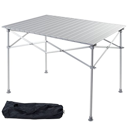 Tabletop Square 40 Table - Giantex Portable Aluminum Folding Table Lightweight Outdoor Roll Up Camping Picnic Table with Storage Bag (40