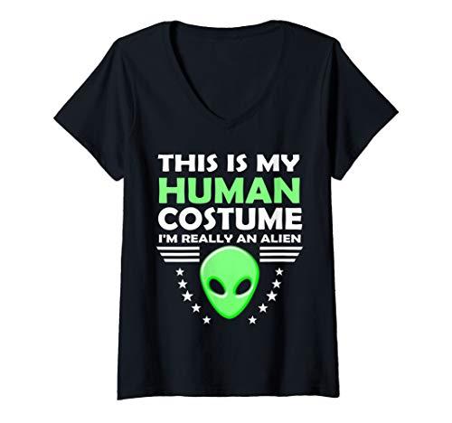 Womens Human Costume Gift for Girls Boys Men and Women Funny Alien V-Neck T-Shirt