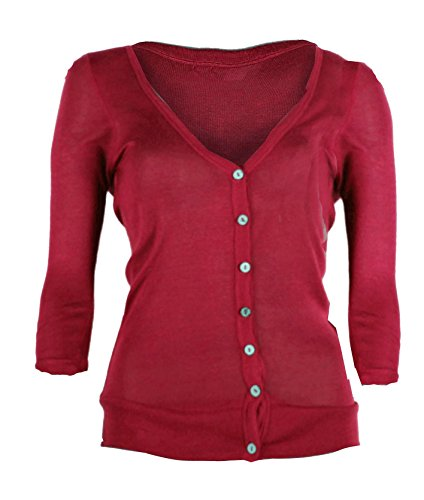 G2 Chic Women's Button Down 3/4 Sleeve V-Neck Light Weight Sweater Cardigan(TOP-CGN,DPKA1-M)