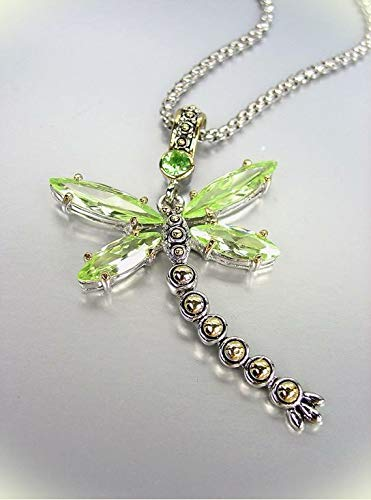 Designer Chunky Peridot Green Cz Crystals Balinese Dragonfly Pendant Necklace For Women