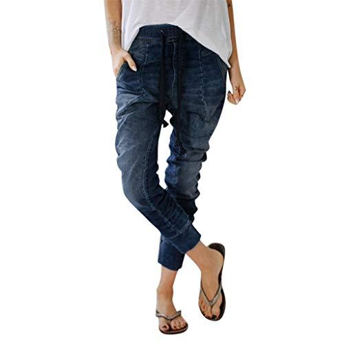 iNoDoZ Women's Drawstring Jeans Pockets Distressed Casual Denim Harem Pants Baggy Trousers