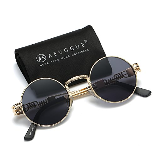 AEVOGUE Sunglasses Steampunk Style Round Metal Frame Unisex Glasses AE0539 (Gold&Black, 48)