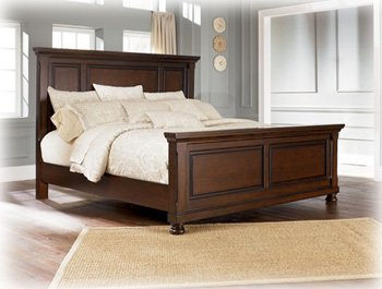 Ashley Porter King Panel Bed in Vintage Casual Rustic Brown