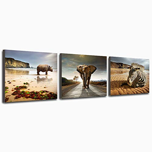 Purple Verbena Art 3 Pieces Elephant, Rhinoceros, Zebra Canvas Prints Wall Art Artwork Animals Modern Framed Pictures to Photo Paintings Decor for Living Room Bedroom Home Decorations 16
