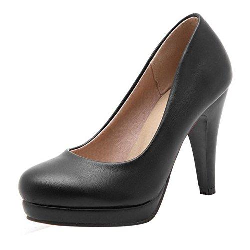 Cônique Femmes Escarpins TAOFFEN Chaussures Noir Élégant Plateforme Talon Haut aOZqwtZ