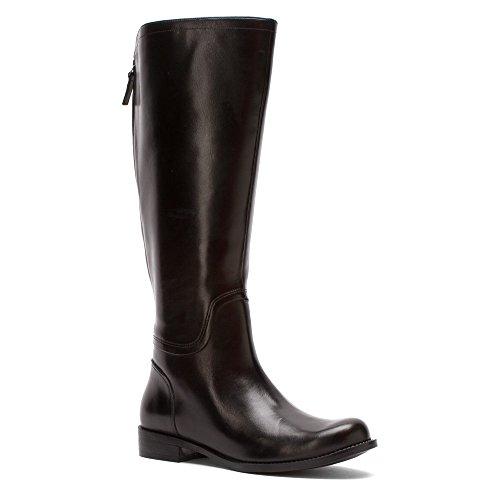Leather Knie West Nine Mode Calf hoch Stiefel Black Rund Contigua Wide Leder qBwqp7