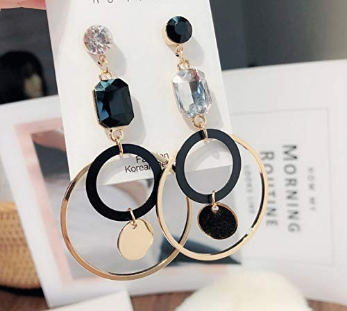 SKYYU Exaggerate Asymmetrical Earrings Circle Auger Temperament Eardrop