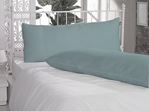 "SPECIAL_THINGS 2 Piece Body Pillow Cases 20""x54"" Size in Aqua Blue Color with Solid Pattern and 300 Thread Counts , 100% Egyptian Cotton"