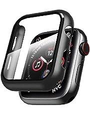 IWatch All inclusive Case Runt Totalt skyddskåpa med härdat glas Skärmskydd för Apple Series 1/2/3/4/5/6 / se 38mm Black Ultratunn HD Protection