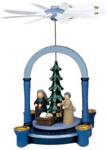 KWO Olbernhau 70088 Pyramide Christi Geburt, 23 cm, blau grau