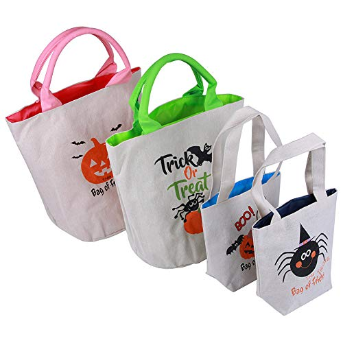 4 Pack Personalized Halloween Treat Bags, Reusable Trick or Treat Candy Sack Bags, Customized Canvas Trick Candy Bag for Party, Shopping, Market(2 Small 7.8 x 7; 2 Big 12 x