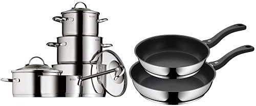 WMF Provence Plus - Batería de Cocina, Acero Inoxidable Cromargan, Tapas Cristal + Set 2 sartenes Devil 24 cm y 28 cm, con antiadherente para todo tipo de cocinas incluido inducción, aluminio fundido
