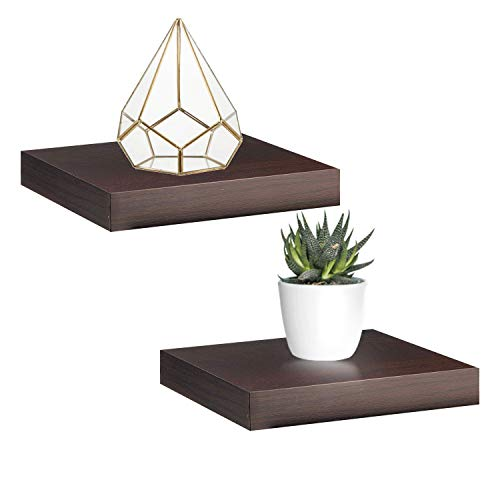 Halter Set of 2 Floating Shelves – Decorative & Functional Wood Floating Wall Shelves - Ideal for Dainty Collectibles. Easy Installation. Metal Brackets Included. 9.2''x9.84. 1.5'' Thick (Mini Floating)
