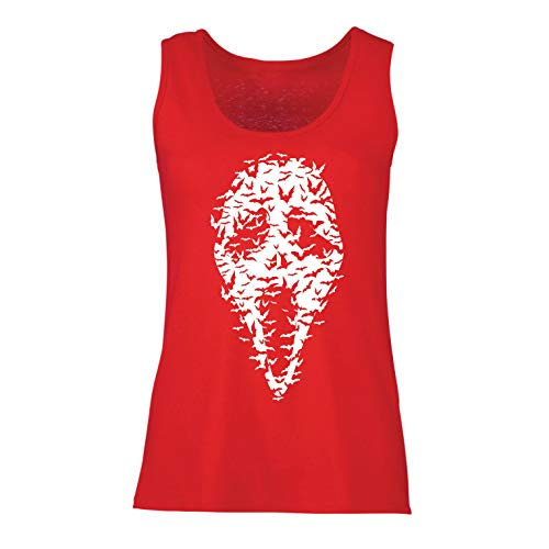 (lepni.me Women's Tank Top Ghost Scary Face Bats, Halloween Party Costume (X-Large Red Multi)