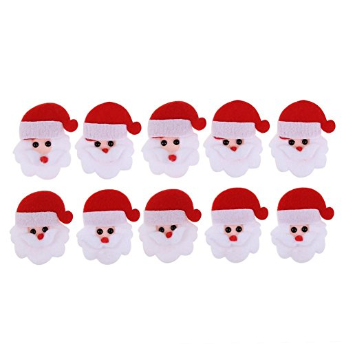 Wall Claus Santa (Whitelotous 10pcs Santa Claus Christmas Shape Patch Padded Felt Appliques Accessories Wall Back Sticker Xmas Party Home Decor)