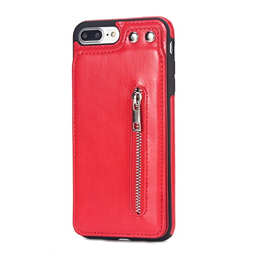 Price comparison product image iphone 7 Plus Wallet Case,iphone 7 Plus Card Holder Case,SUNWAY Shockproof Leather Case with Credit Card Holder Slot Zipper Pocket Wallet for Apple iphone 7 Plus - Red
