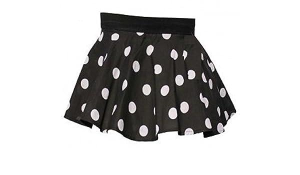 Niñas Negro Falda circular con lunares blancos de lunares de edad ...