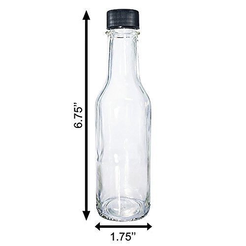 (24 Pack) 5 oz. Clear Glass Hot Sauce Bottle with Black Cap + Shrink band and Orifice Reducer (24/400) by GBO GLASSBOTTLEOUTLET.COM (Image #4)