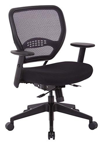 Grid Chair Air Fabric (SPACE Seating AirGrid Back and Padded Mesh Seat, 2-to-1 Synchro Tilt Control, Adjustable Arms, Nylon Base Adjustable Managers Chair, Black)