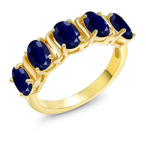 Gem Stone King 2.75 Ct Oval Blue Sapphire 18K Yellow Gold Plated Silver Ring (Size -