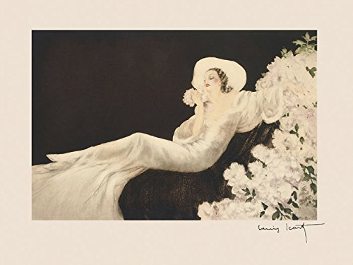 Seated Fashion Lady Girl Flowers Perfume White Dress and Hat by Louis Icart Toulouse France French Artist 12