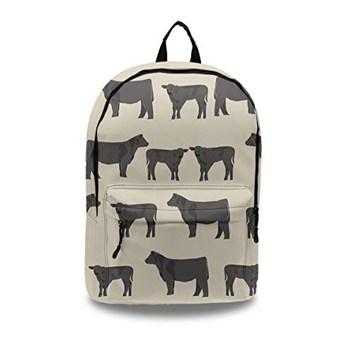 Casual Style Lightweight Laptop Bag/Durable Travel Backpacks/Rucksack for Men&Women/Fashion Backpack (Angus Cattle Animal)