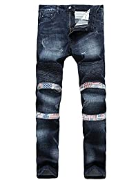 K3K New Men's Slim Motorcycle Pants Fashion Fold Straight Casual Jeans