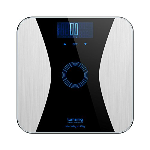 Lumsing Digital Body Weight Scale, Body Fat Scale Monitor, High Percision 400lbs Capacity Measures Weight, Body Fat, BMI, Water, Muscle and Bone Mass (Black)