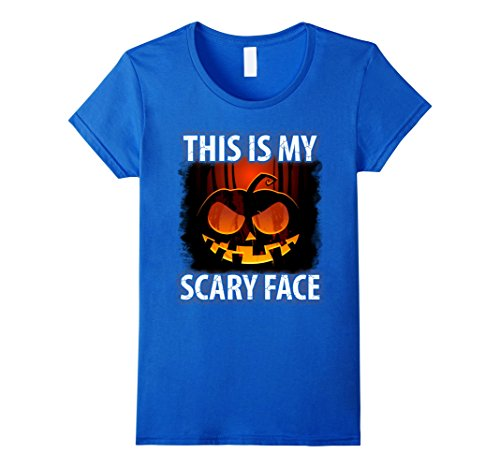 Womens Funny Halloween Pumpkin Costume T Shirt My Scary Face Small Royal (Scary Spice Costumes)