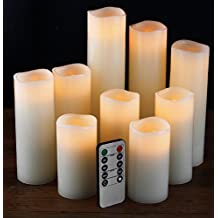 """Flameless Candles- Flameless Candles LED Candles Set 4"""" 5"""" 6"""" 7"""" 8"""" 9"""" Battery Candles Real Wax Pillar with 10-key Remote Control Timer Candle Flameless - 2/4/6/8 Hours Timer comenzar"""