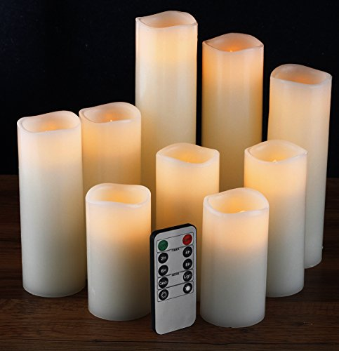 "Flameless Candles, Battery Candles Set of 9(H 4"" 5"" 6"" 7"" 8"" 9"" xD 2.2"") Ivory Real Wax Pillar Candles With Remote Timer by Comenzar (Batteries not included)"
