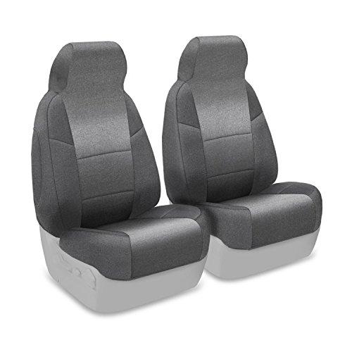 Coverking Custom Fit Front 50/50 High Back Bucket Seat Cover for Select Chevrolet Corvette Models - Velour (Gray)