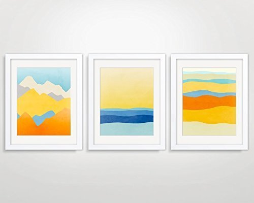 Amazon.com: Colorful Wall Art Print Set of 3 - Abstract Landscapes ...