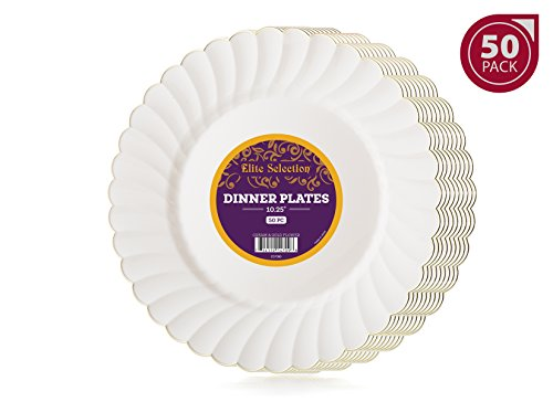 Elite Selection Pack of 50 Dinner Disposable Party Plastic Plates Ivory Cream Color With Gold Flower Rim 10.25-Inch