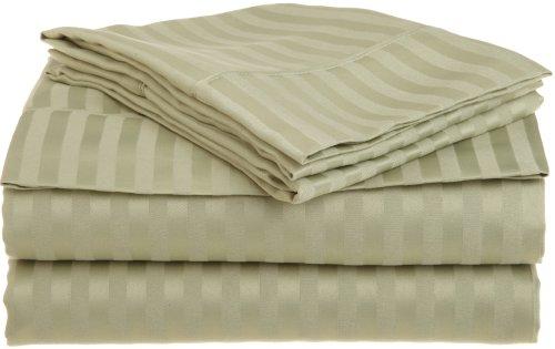 Amazon Lightning Deal 57% claimed: 1500 Series 100% Brushed Microfiber 4-piece Queen Sheet Set Stripe Sage - Deep Pocket Super Soft and Wrinkle Resistant