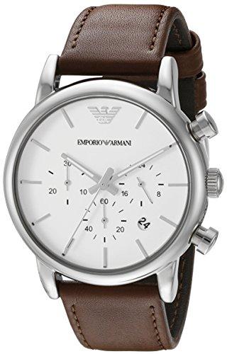 Emporio Armani Men's AR1846 Dress Brown Leather Watch (Men Watch Leather Armani)