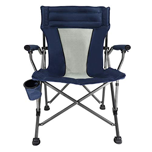 LCH Outdoor Camping Chair – Oversized Heavy Duty Folding Mesh Ergonomic High Back Padded Armrest Chair with Headrest, Cup Holder, Carry Bag, Supports 300 lbs