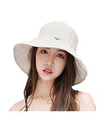 Bhwin Women Summer Beach Sun Hat Anti-UV UPF 50+ Foldable Wide Brim Bucket Hat