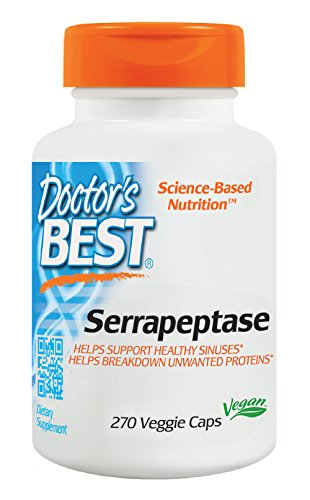 Doctor's Best Serrapeptase, Non-GMO, Gluten Free, Vegan, Supports Healthy Sinuses, 40,000 SPU, 270 Veggie Caps