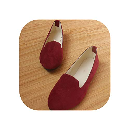 Spring Autumn Women Ballet Flats for Woman Slip On Casual Shoes Office Lady,Wine Red,39