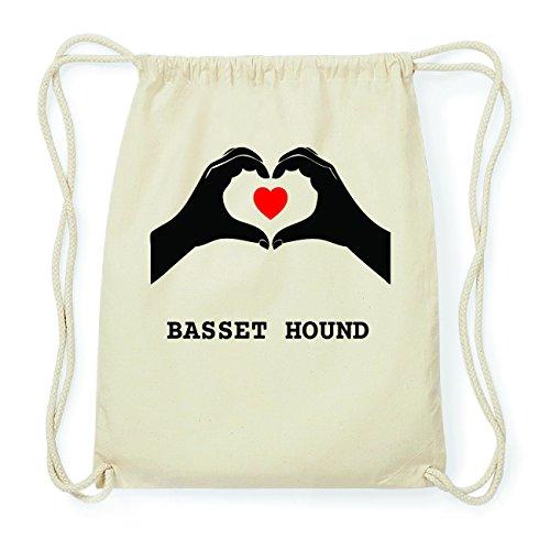 JOllify BASSET HOUND Hipster Turnbeutel Tasche Rucksack aus Baumwolle - Farbe: natur Design: Hände Herz