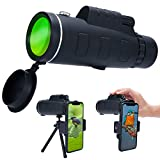 Super Clear 12x50 Monocular Telescope, High Powered High Optical Monocular with Dual Focus Zoom, Portable Waterproof & Fogproof Telescope for BirdWatching, Traveling, Hunting, Camping, Outdoors Climbi