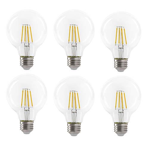 LED 4.5W G25 Clear Globe Filament Light Bulb, 40W Equivalent, 470 Lumens, 2700K Soft White, E26 Medium Base, Dimmable, 120V, Energy Star, (6 Pack)