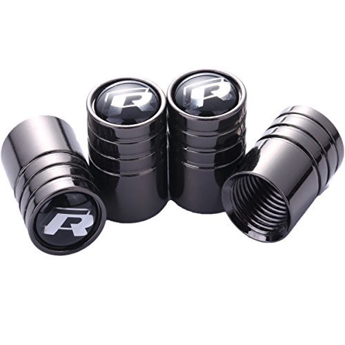 TK-KLZ 4Pcs Chrome for VW R Line Sport Logo Car Tires Valve Stem Caps for ALL Model Volkswagen VW CC Tiguan JETTA GOLF MAGOTAN POLO SANTANA Beetle Phaeton Decorative Accessory