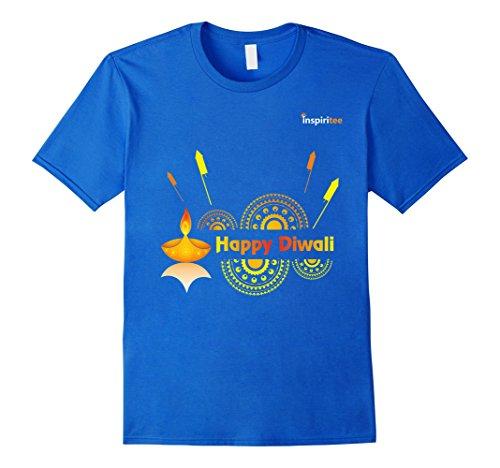 Mens Inspiritee - Happy Diwali - T Shirt 3 Large Royal Blue by Inspiritee