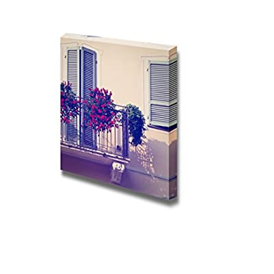 Canvas Prints Wall Art - Renovated Facade of The Old Italian House with Balcony Decorated with Fresh Flowers - 24