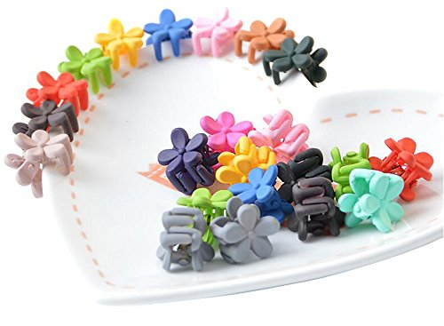(20 Colorful Assorted Mini Small Plastic Hair Clips Claws Clamps Hair Pin Flower for Girl)