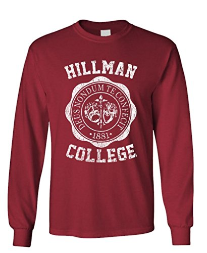 The Goozler Hillman College - Retro 80s Sitcom tv - Long Sleeved Tee, M, Maroon from The Goozler